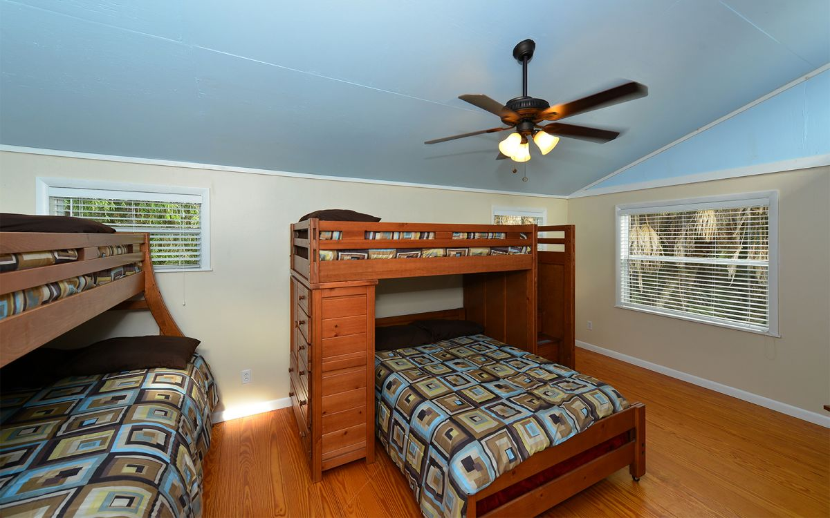Upstairs Bedroom with  2 Bunk Beds. (Bottom Full Size Bed, Top Twin Size Bed and Trundle Bed)